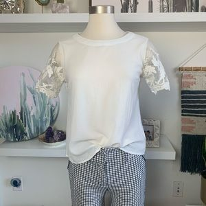 Lace sleeve work blouse